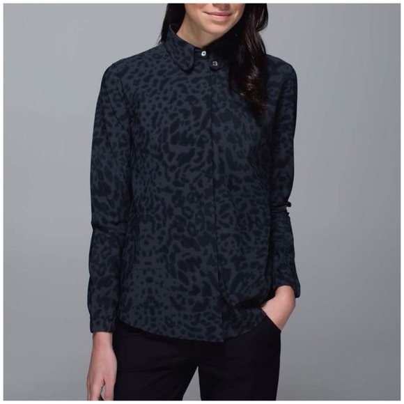 bb8972b16 lululemon athletica Tops | Lululemon Day Trip Blouse In Black Animal ...